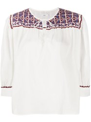 Closed Round Neck Embroidered Shirt White