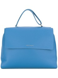 Orciani Logo Plaque Tote Blue