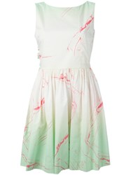 Marc By Marc Jacobs Marble Print Flared Dress Green