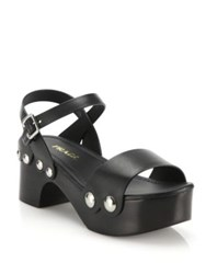 Prada Leather And Wooden Clog Sandals Black