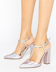Little Mistress Metallic Pointed T Bar Heeled Shoes With Block Heel Silver