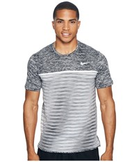 Nike Court Dry Challenger Short Sleeve Tennis Top Black Dark Grey Pure Platinum White Men's Clothing Gray