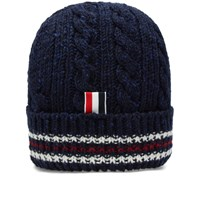 Thom Browne Tricolour Insert Donegal Beanie Navy
