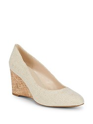 Nine West Jessa Textile Wedge Heels Natural Gold Linen
