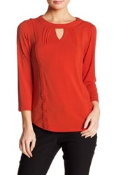 Nanette Nanette Lepore Crochet Trim Keyhole Detail Tee Orange