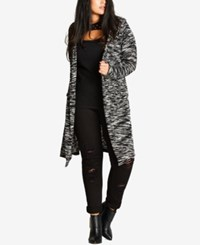 City Chic Trendy Plus Size Hooded Duster Cardigan Black
