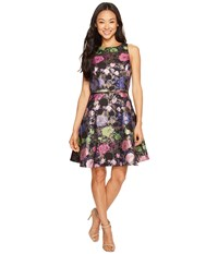 Tahari By Arthur S. Levine Petite Metallic Floral Fit And Flare Dress Navy Pink Emerald Women's Dress Multi
