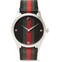 Gucci G Timeless 38Mm Stainless Steel And Striped Leather Watch Black