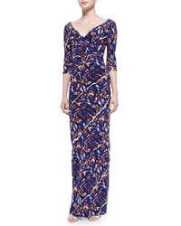 Kenzo 3 4 Sleeve Torn Flowers Print Maxi Dress Black