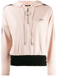 Liu Jo Brand Hoodie With Contrasting Panel Neutrals