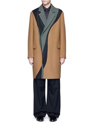 Wooyoungmi Colourblock Swirl Wool Cashmere Coat Multi Colour