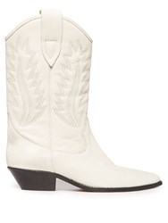 Isabel Marant Dallin Leather Western Boots White