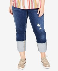 Rachel Roy Trendy Plus Size Ripped Cropped Jeans Felicity Wash