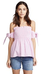 English Factory Off Shoulder Top With Smocking Carnation Pink