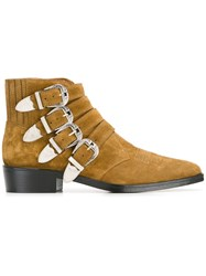 Toga Multi Buckle Boots Brown