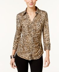 Inc International Concepts Ruched Animal Print Blouse Only At Macy's Glitter Cheetah