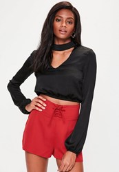 Missguided Red Lace Up High Waisted Shorts