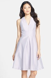 Alfred Sung Women's V Neck Dupioni Cocktail Dress Dove