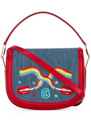Olympia Le Tan Smoking Lips Embroidered 'Carson' Shoulder Bag Blue