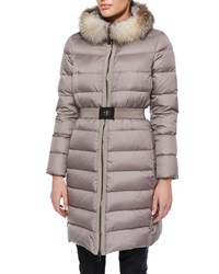 Moncler Fabrefox Fur Trim Puffer Coat With Belt Taupe