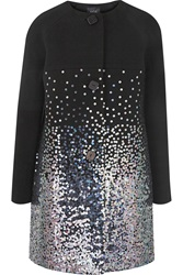 Raoul Sequin Embellished Wool Blend Coat Black