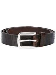 Orciani Crocodile Effect Belt Men Leather 110 Brown