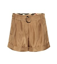 Burberry Silk Shorts Brown