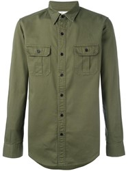 Saint Laurent Slim Fit Military Style Shirt Green