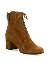 Gianvito Rossi Finlay Suede Lace Up Block Heel Booties Black Brown