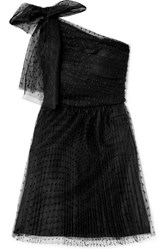 Red Valentino Redvalentino One Shoulder Pleated Point D'esprit Tulle Mini Dress Black