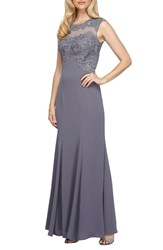 Alex Evenings Women's Embroidered Illusion Fit And Flare Gown