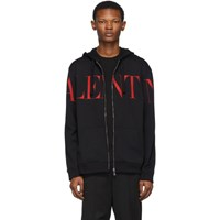 Valentino Black And Red Logo Hoodie