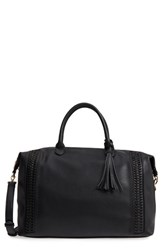 Sole Society Tara Whipstitched Faux Leather Weekend Bag Black