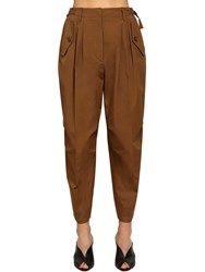 Givenchy High Waist Cotton Canvas Cargo Pants Dark Beige