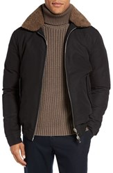 Eleventy Men's Bomber Jacket With Genuine Shearling Collar