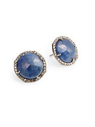 Bavna Diamond Sapphire And Sterling Silver Button Earrings Navy