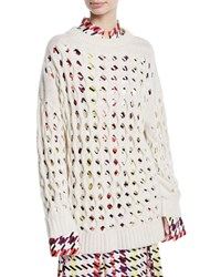 Oscar De La Renta Wool Cashmere Laser Cut Fisherman Sweater White