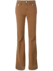 J Brand Flared Trousers Brown