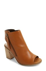 Sole Society Women's Arizona Block Heel Peep Toe Bootie Camel Leather