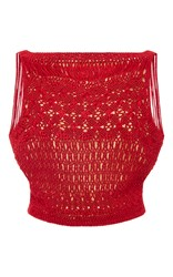 Oscar De La Renta Red Silk Macrame Top