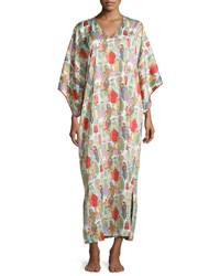 Natori Dynasty Pearl Print Long Caftan Red Multicolor Women's