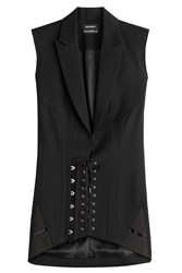 Anthony Vaccarello Wool Corset Blazer Dress Black