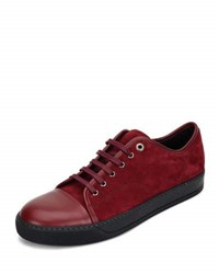 Lanvin Men's Cap Toe Leather Low Top Sneaker Black Red