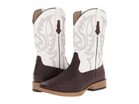 Roper Ostrich Print Square Toe Cowboy Boot Brown Faux Leather Western Stitch Cowboy Boots Tan