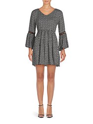 Minkpink Printed V Neck Dress Black Multi