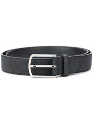 Canali Tweed Print Buckle Belt Men Leather 105 Grey