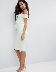 Asos Bardot Scuba Ruffle Peplum Midi Dress Mint Green
