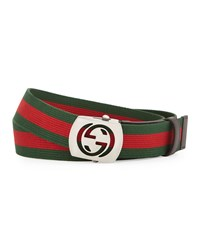 Gucci Canvas Belt With Cutout Buckle Size 42In 105Cm Green Red