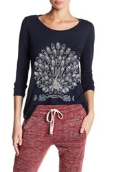 Lucky Brand Embellished Embroidered Peacock Tee Blue