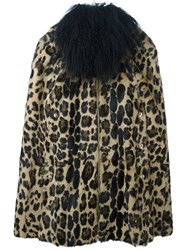 Sonia Rykiel Leopard Print Fur Coat Brown